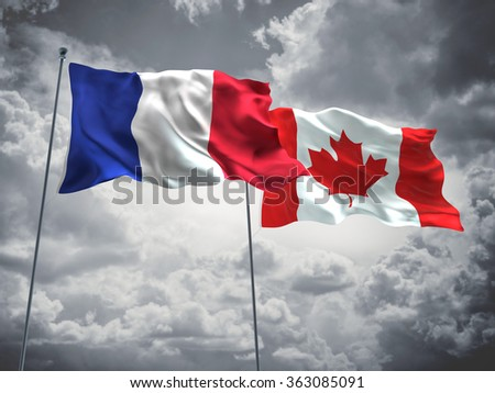 France & Canada Flags are waving in the sky with dark clouds