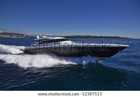 France, Cannes, luxury yacht Continental 80' (boatyard: Cantieri Navali del Mediterraneo), aerial view - stock photo