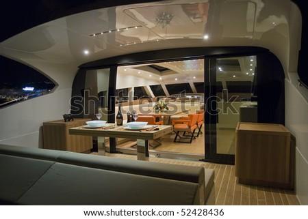 France, Cannes, luxury yacht Continental 80 (boatyard Cantieri Navali del Mediterraneo), dinette - stock photo
