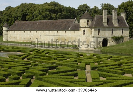 France, castle of  villarceaux, French formal garden