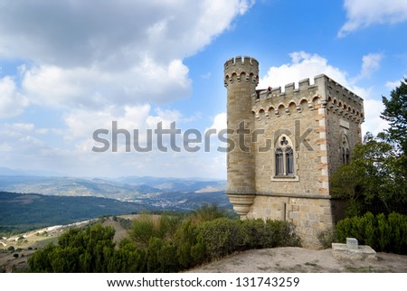 "France Castle ""Rennes le Chateau"" - stock photo"