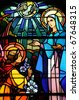 France, church of Maissemy, stained glass window - stock photo