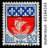 FRANCE - CIRCA 1960: A French Used Postage Stamp showing Paris Coat of Arms, circa 1960 - stock photo
