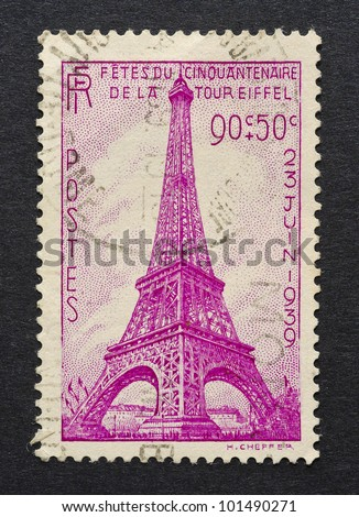FRANCE - CIRCA 1939: A postage stamp printed in France showing an image of Eiffel Tower, circa 1939. - stock photo