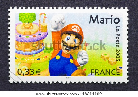 FRANCE - CIRCA 2005: a postage stamp printed in France showing an image of Mario Bros video game, circa 2005. - stock photo