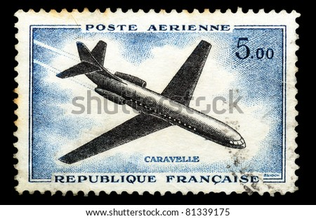 FRANCE - CIRCA 1965: a stamp printed by France show the passenger airplane Caravelle, series, circa 1965 - stock photo