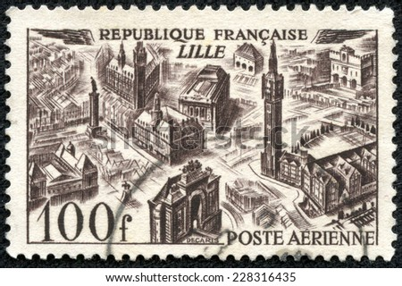 FRANCE - CIRCA 1949: A stamp printed by FRANCE, shows bird's-eye view of Lille, circa 1949 - stock photo