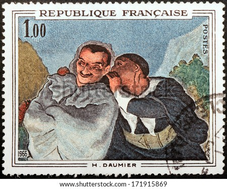FRANCE - CIRCA 1966: A stamp printed by FRANCE shows image of picture Crispin and Scapin by French printmaker, caricaturist and painter Honore Daumier, circa 1966 - stock photo