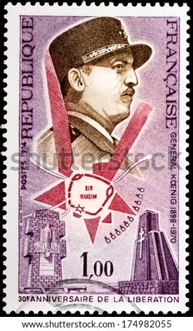 FRANCE - CIRCA 1974: A stamp printed by FRANCE shows image portrait of French General Marie-Pierre Koenig, 30th Anniversary of the Liberation of France, circa 1974. - stock photo
