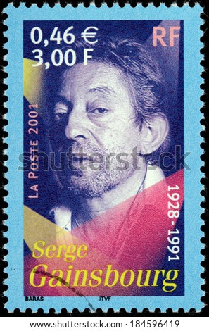 FRANCE - CIRCA 2001: A stamp printed by FRANCE shows image portrait of French singer, songwriter, pianist, composer, poet, painter, screenwriter, writer and actor Serge Gainsbourg, circa 2001