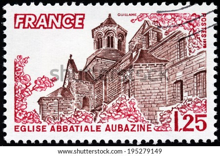 FRANCE - CIRCA 1978: A stamp printed by FRANCE shows Obazine Abbey (Aubazine Abbey) - Cistercian monastery in the present town of Aubazine, departement of Correze in Limousin, France, circa 1978 - stock photo