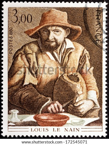 FRANCE - CIRCA 1980: A stamp printed by FRANCE shows Picture Peasant by French painter Louis le Nain, circa 1980 - stock photo