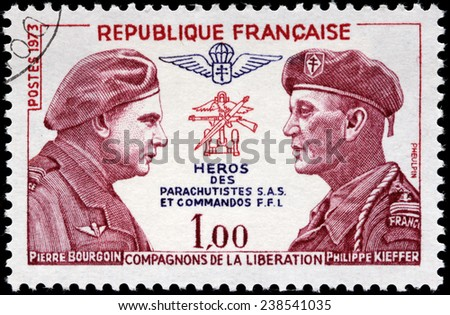 FRANCE - CIRCA 1973: A stamp printed by FRANCE shows Pierre Bourgoin and Philippe Kieffer from Alsace, the hero of SAS paratroopers and commandos FFL. Companions of the Liberation, circa 1973. - stock photo