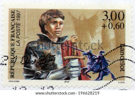 FRANCE - CIRCA 1997: A stamp printed by FRANCE shows Sir Lancelot ( Launcelot) du Lac - one of the Knights of the Round Table in the Arthurian legend, circa 1997 - stock photo