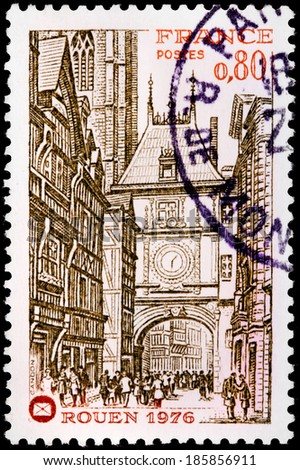 FRANCE - CIRCA 1976: A stamp printed by FRANCE shows view of Rouen. Rouen is a town in north-western France on the River Seine, is the historic capital city of Normandy, circa 1976 - stock photo