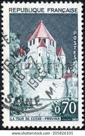 FRANCE - CIRCA 1964: A stamp printed by FRANCE shows view of the Caesar Tower in Provins town of medieval fairs in Seine-et-Marne department, Ile-de-France region, north-central France, circa 1964 - stock photo