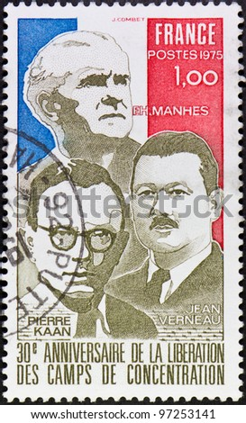 FRANCE - CIRCA 1975: A stamp printed in France commemorating the 30th anniversary of the liberation of concentration camps,circa 1975.