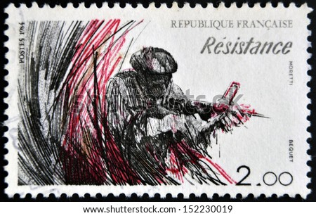 FRANCE - CIRCA 1984: A stamp printed in France dedicated to Resistance, circa 1984 - stock photo