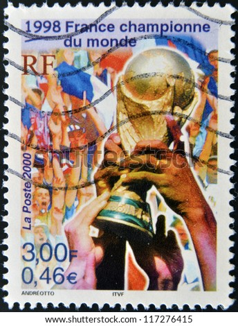FRANCE - CIRCA 2000: A stamp printed in France dedicated to World Cup in France 1998, circa 2000 - stock photo