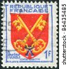 FRANCE - CIRCA 1955: A stamp printed in France, depicts Arms of Comtat Venaissin, circa 1955 - stock photo