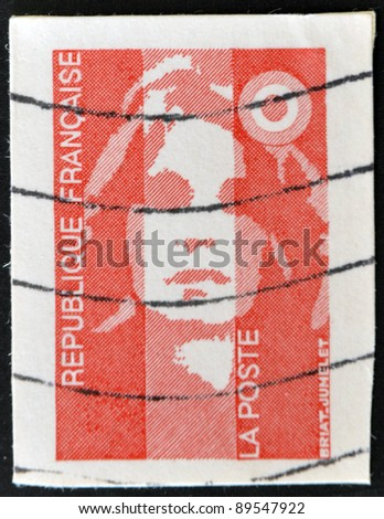 FRANCE - CIRCA 1989: A stamp printed in France, depicts Marianne is a national emblem of France, circa 1989