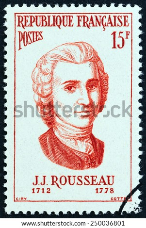 """FRANCE - CIRCA 1956: A stamp printed in France from the """"Famous Men """" issue shows philosopher Jean-Jacques Rousseau, circa 1956.  - stock photo"""