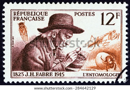 """FRANCE - CIRCA 1956: A stamp printed in France from the """"French Scientists """" issue shows entomologist Jean-Henri Fabre, circa 1956.  - stock photo"""