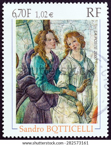 FRANCE - CIRCA 2000: A stamp printed in France issued for the 555th anniversary of the birth of Sandro Boticelli shows detail of Venus and the Graces offering gifts to a young girl, circa 2000.  - stock photo