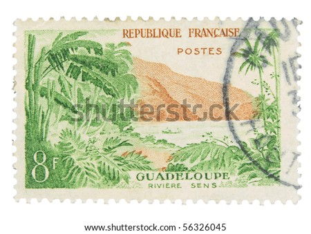 FRANCE - CIRCA 1965: A stamp printed in France showing Guadeloupe, circa 1965