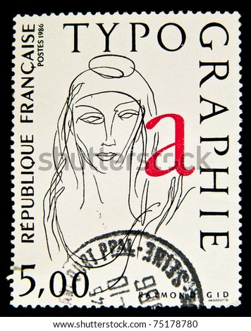 FRANCE - CIRCA 1986: A stamp printed in France showing portrait of woman, circa 1986 - stock photo