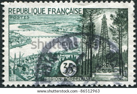FRANCE - CIRCA 1957: A stamp printed in France, shows a region of Bordeaux, circa 1957