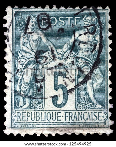 "FRANCE - CIRCA 1876: A stamp printed in France shows Athena and Hermes (Allegorical subjects: Peace and Commerce), without inscription, from the series ""Allegorical subjects"", circa 1876 - stock photo"
