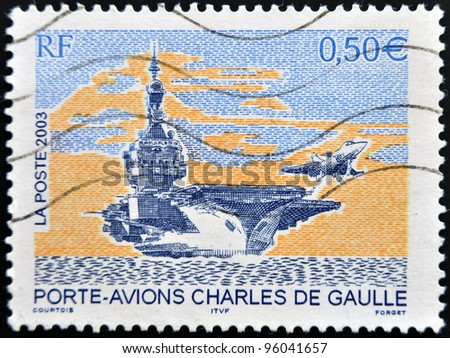 FRANCE - CIRCA 2003: A stamp printed in France shows Charles de Gaulle aircraft carrier, circa 2003