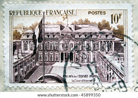 FRANCE - CIRCA 1959: A stamp printed in France shows Elysee Palace in Paris, circa 1959