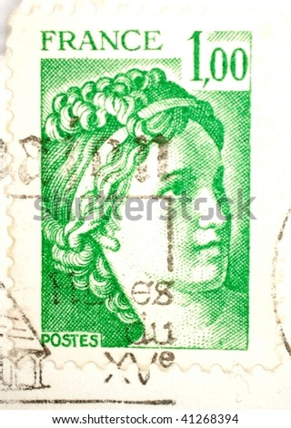 FRANCE - CIRCA 1980: A stamp printed in France shows image of a woman with braided hair, series, circa 1980