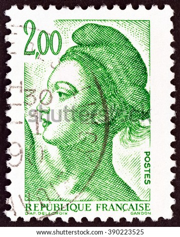 FRANCE - CIRCA 1982: A stamp printed in France shows Liberte of Delacroix, circa 1982. - stock photo