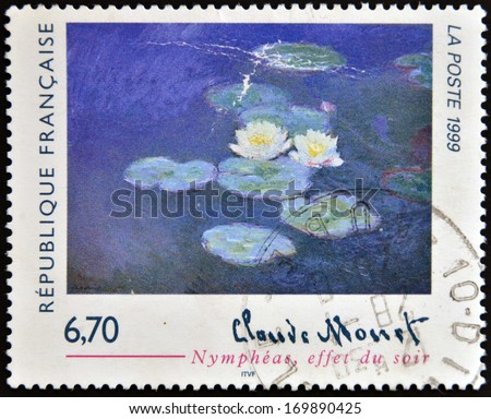FRANCE - CIRCA 1999: A stamp printed in France shows lilies, evening effect by Claude Monet, circa 1999 - stock photo
