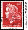 FRANCE - CIRCA 1967:  A stamp printed in France,  shows  Marianne - Symbol of the French republic, circa 1967. - stock photo