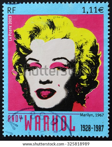 FRANCE - CIRCA 2003: A stamp printed in France shows Marilyn Monroe by Andy Warhol, circa 2003  - stock photo