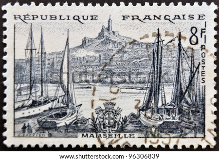 FRANCE - CIRCA 1955: a stamp printed in France shows Marseille,  circa 1955