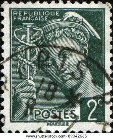 FRANCE - CIRCA 1938: A stamp printed in France shows Mercurius, circa 1938 - stock photo