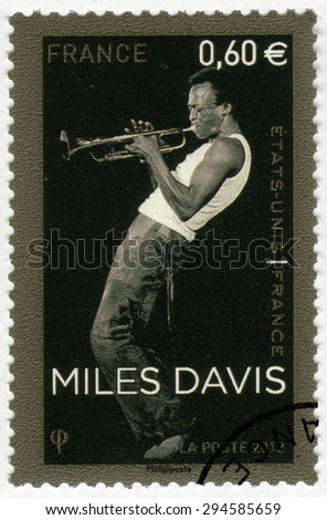 FRANCE - CIRCA 2012: A stamp printed in France shows Miles Dewey Davis III (1926-1991), jazz musician and trumpeter, circa 2012  - stock photo