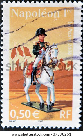 FRANCE - CIRCA 2004: A stamp printed in France shows Napoleon I, circa 2004 - stock photo