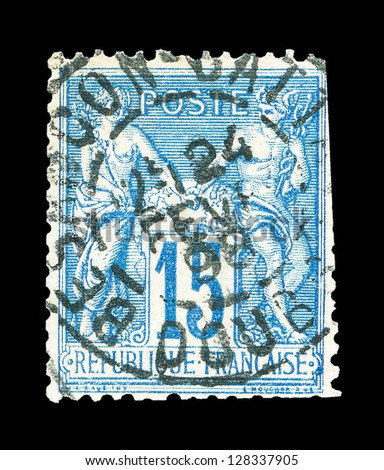 FRANCE - CIRCA 1876: A stamp printed in France, shows Peace and Commerce, circa 1876 - stock photo