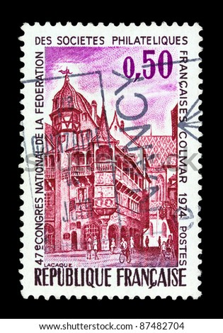 FRANCE - CIRCA 1974: A stamp printed in France shows Pfister House, 16th Century, Colmar, circa 1974.