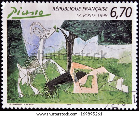 FRANCE - CIRCA 1998: A stamp printed in France shows spring by Pablo Picasso, circa 1998 - stock photo