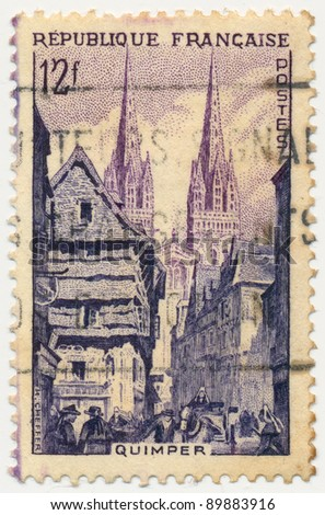 FRANCE - CIRCA 1954: A stamp printed in France shows Street Corner, Quimper, circa 1954