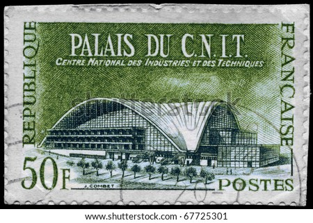 "FRANCE - CIRCA 1959: A Stamp printed in FRANCE shows the C. N. I. T. Building (Centre National des Industries et des Techniques) from the series ""French technical achievements"", circa 1959 - stock photo"