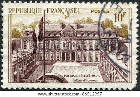 FRANCE - CIRCA 1957: A stamp printed in France, shows the Elysee Palace (Presidential Palace), circa 1957