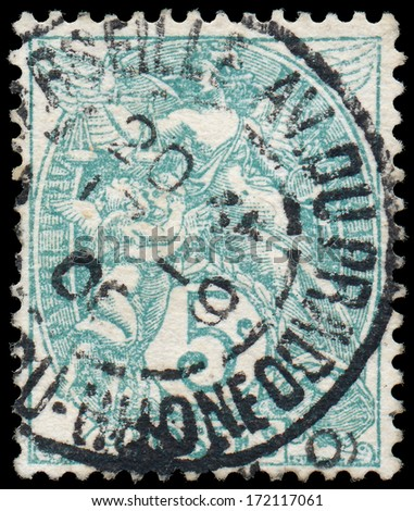 FRANCE CIRCA 1900-1924: A stamp printed in France shows Themis - simbol of justis, circa 1900-1924  - stock photo